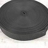 Ременная лента 30 мм репс черная для сумок a5332 (15 м.), фото 3