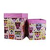 Скринька для зберігання, 25*25*30 см, (бавовна), з відворотом (казкові сови рожеві/рожевий), фото 4