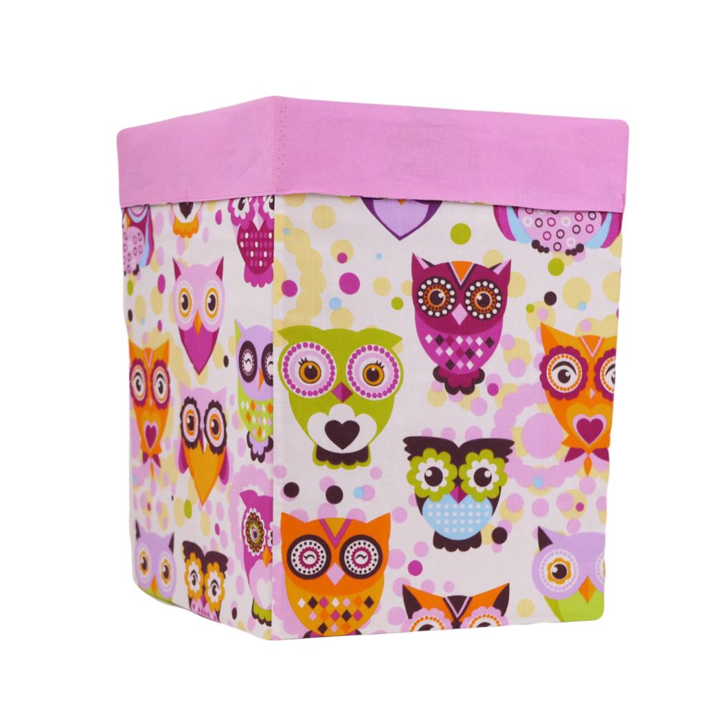 Ящик (коробка) для хранения, 30 * 30 * 40см, (хлопок), с отворотом (сказочные совы розовые / розовый)