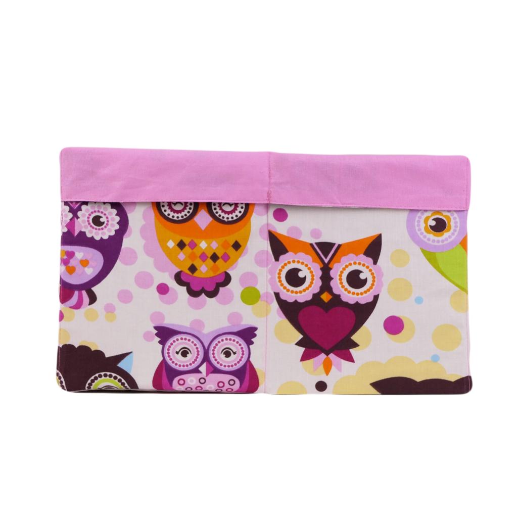 Ящик (коробка) для хранения, 25 * 35 * 20см, (хлопок), с отворотом (сказочные совы розовые / розовый)