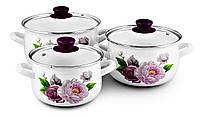 Набор индукционных эмалированных кастрюль 2л 3л 4л «Фиолетовая роза» Zauberg (сферические)