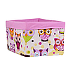 Скринька ( коробка ) для зберігання, 25*35*20 см, (бавовна), з відворотом (казкові сови рожеві/рожевий), фото 2