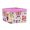 Ящик (коробка) для хранения, 25 * 35 * 20см, (хлопок), с отворотом (сказочные совы розовые / розовый), фото 2