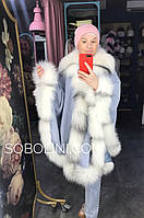Пончо  кашемировое  с мехом полярной лисы