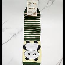 Шкарпетки жіночі Панда в зелену смужку розмір 35-40