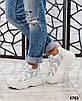 Стильные женские кроссовки кожаные белые, фото 6