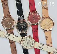 Женские наручные часы классические Qulijia  OL2-15 c Персиковым ремешком