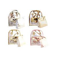 """Рюкзак-сумка """"WB"""" прозрачный ПВХ 32*25*14,5см, 1 ок + 1 карман на магн. + Косметичка 20*20*8 см TMB-26"""