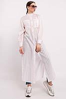 Повседневная длинная женская рубашка макси с воротником стойка (Шерити ri) Пудра