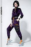 Спортивный молодежный костюм  размеры: S/M, L/X Lцвет фиолетовый с черным, фото 4
