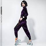 Спортивный молодежный костюм  размеры: S/M, L/X Lцвет фиолетовый с черным, фото 5