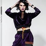 Спортивный молодежный костюм  размеры: S/M, L/X Lцвет фиолетовый с черным, фото 2