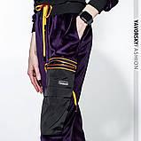 Спортивный молодежный костюм  размеры: S/M, L/X Lцвет фиолетовый с черным, фото 3