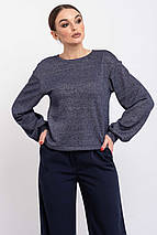 Укороченный женский трикотажный свитшот в минималистичном стиле (Грей ri), фото 3