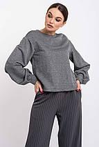 Укороченный женский трикотажный свитшот в минималистичном стиле (Грей ri), фото 2