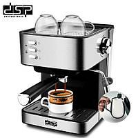 Кофемашина полуавтоматическая рожковая DSP Espresso Coffee Maker KA3028 с капучинатором (кофеварка)