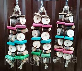 Деревянная грушка для попугая, 26 см