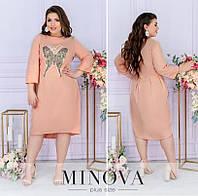 Льняное платье батал с аппликацией бабочка на груди (4 цвета) ОМ/-816 - Пудра, фото 1