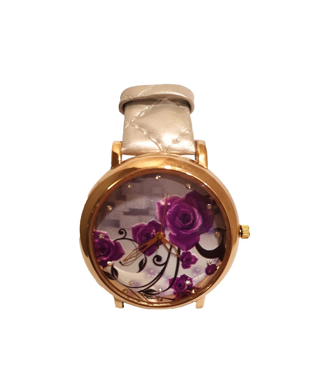 """Часы женские кварцевые """"Фиолетовый цветок"""" Серый"""