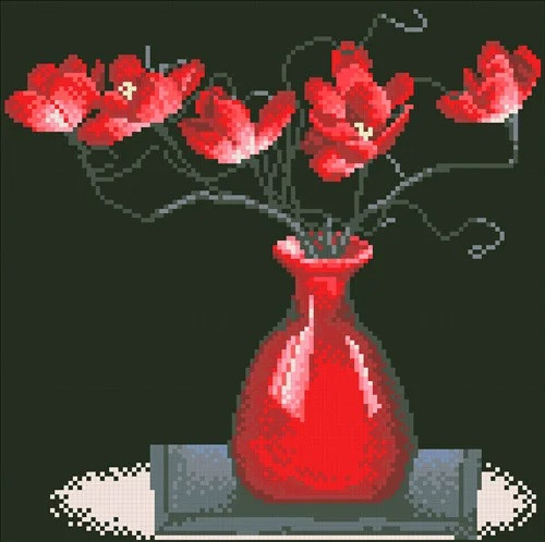 """Набір алмазної мозаїки """"Червоні квіти на чорному"""" (30 х 30)"""