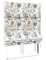 Римская штора хлопок с морской тематикой с голубым якорем и коричневыми канатами завязанными в морские узлы