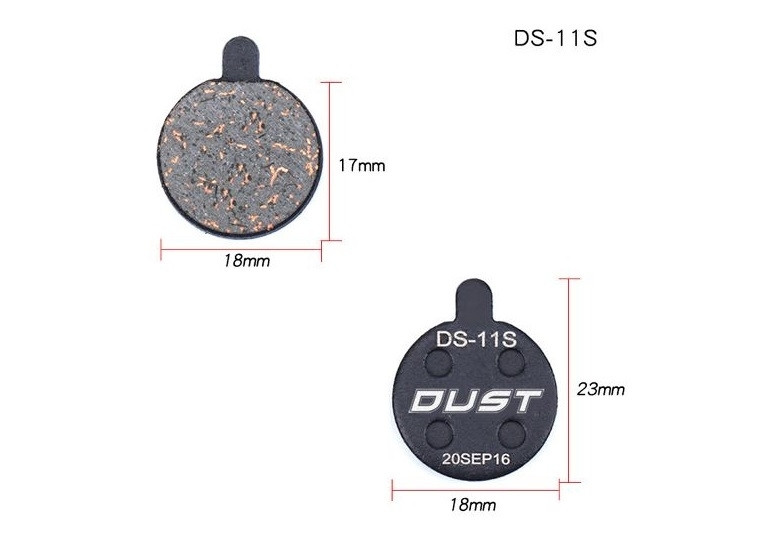Колодки на велосипед дисковые DUST DS-11S Alhonga, ZOOM DB250/350/450/550 полуметалл