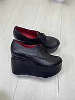 38 р. Туфли женские черные кожаные, из натуральной кожи, натуральная кожа, фото 1