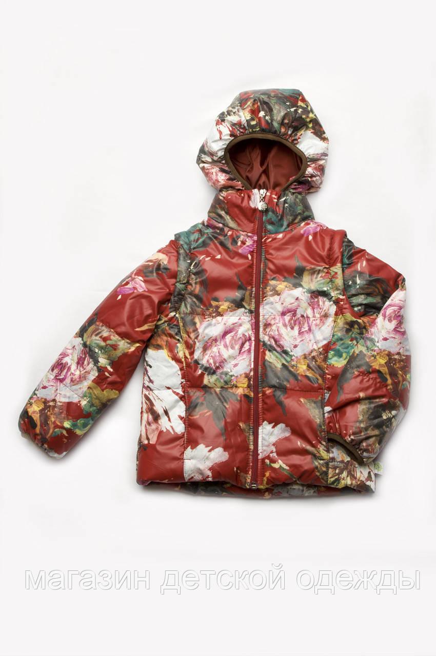 Детская демисезонная куртка-жилет 2 в 1 для девочки (бордо)
