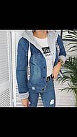 Весенняя-Осенняя женская джинсовая куртка с капюшоном