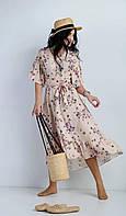 Нежное платье с цветочным рисунком бежевое, фото 1