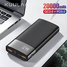 Оригінальний Power Bank KUULAA 20000 маг QC3.0 USB Type-C PD Швидка зарядка 18 Вт Black