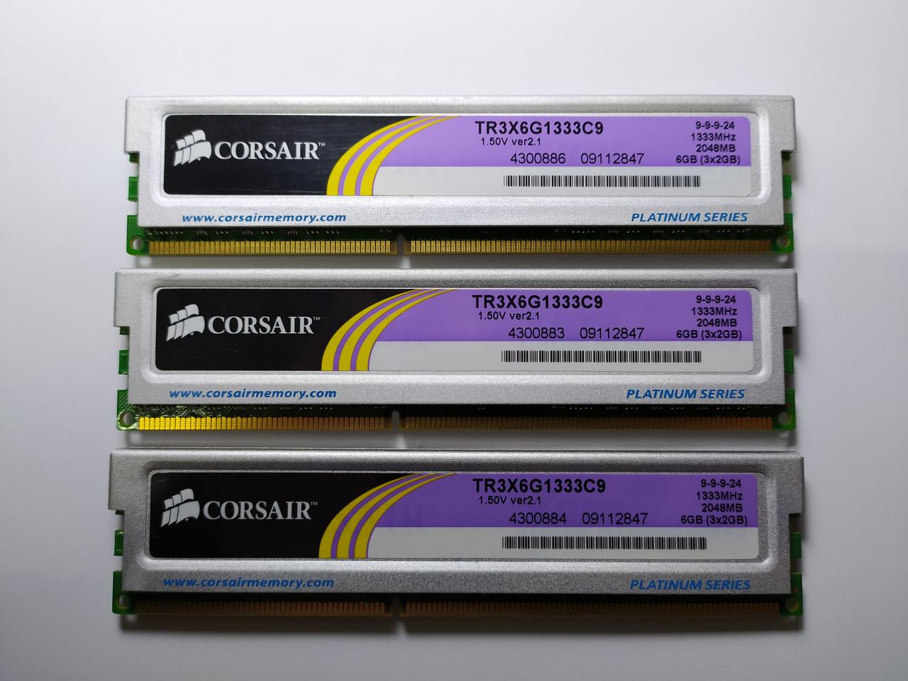 Комплект оперативной памяти Corsair XMS3 DDR3 6Gb (3*2Gb) 1333MHz PC3-10600 (TR3X6G1333C9) Б/У