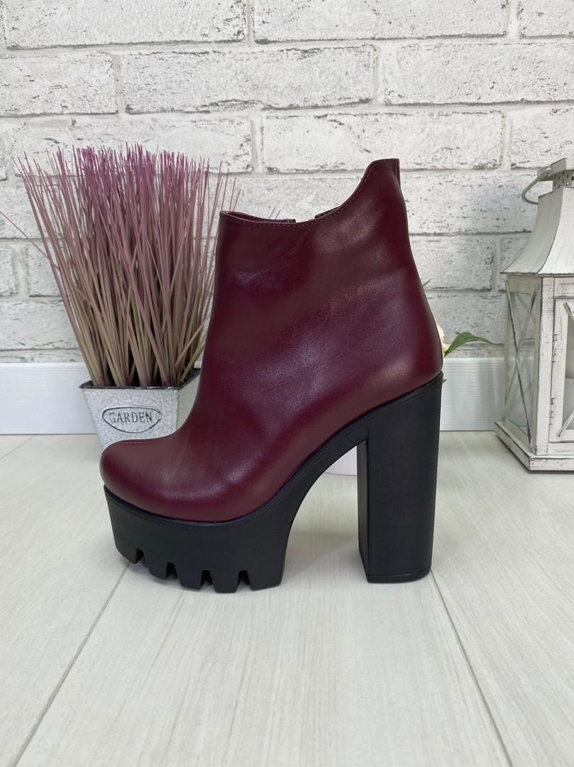 39 р. Ботинки женские деми кожаные на высоком каблуке, демисезонные, из натуральной кожи, кожа