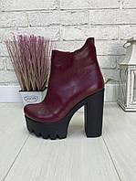 39 р. Ботинки женские деми кожаные на высоком каблуке, демисезонные, из натуральной кожи, кожа, фото 1