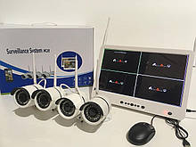 """Рег + Камери DVR KIT LCD 13 """" 1304 WiFi 4ch набір на 4 камери WK-2904-M13-2MP (3 шт/ящ)"""