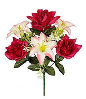Букет искусственных цветов Роза и Лилия комбинированный , 40 см
