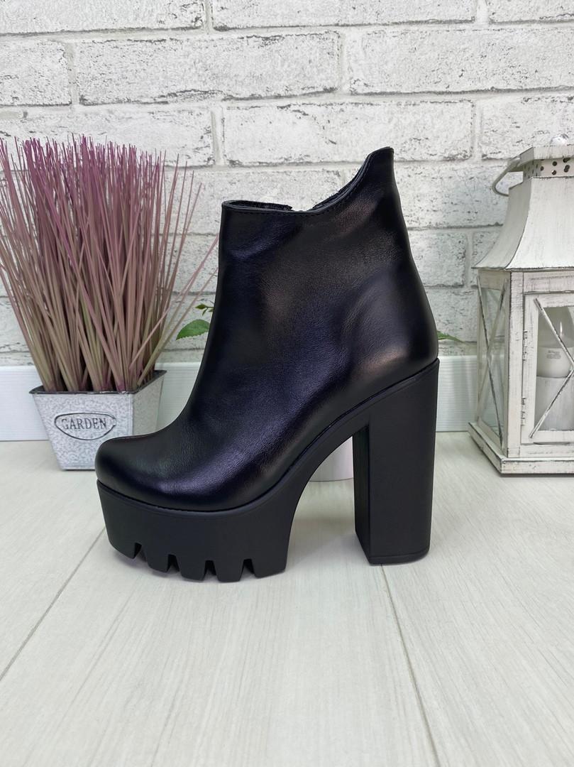37 р. Ботинки женские деми кожаные на высоком каблуке, демисезонные, из натуральной кожи, кожа