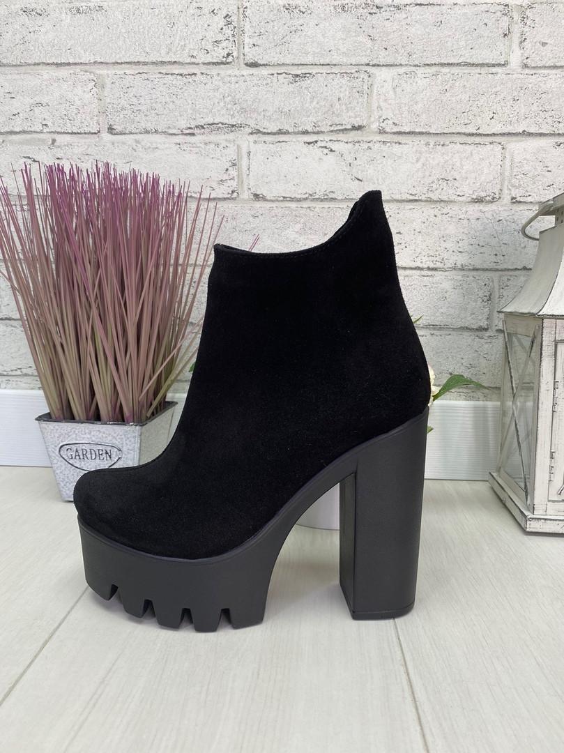 35 р. Ботинки женские деми замшевые на высоком каблуке, демисезонные, из натуральной замши, замша