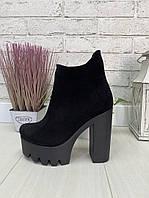 35 р. Ботинки женские деми замшевые на высоком каблуке, демисезонные, из натуральной замши, замша, фото 1