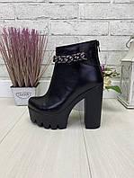 35 р. Ботильоны женские деми кожаные на высоком каблуке, демисезонные, из натуральной кожи, кожа, фото 1