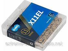Цепь для мтб KMC X11 EL Gold, 11 скоростей, замок, titan nitrid