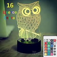 1 Светильник - 16 цветов света! Сова, с пультом управления, 3D светильники ночники, Светильник 3D