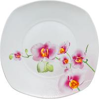Тарелка мелкая квадратная фарфор 25 см Белый ST Орхидея