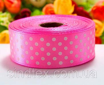 Лента атласная в горошек 2,5см (25 ярдов) Цена за рулон, цвет - Розовый (сп7нг-4398)