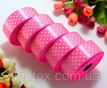 (5 рулонов) Лента атласная в горошек 2,5см (25 ярдов) Цена за блок, цвет - Розовый (сп7нг-4420)