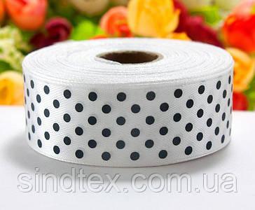 Лента атласная в горошек 2,5см (25 ярдов) Цена за рулон, цвет - Белый (сп7нг-4408)