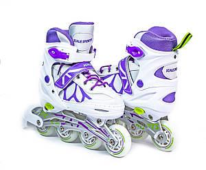 Ролики Scale Sports LF 601A біло-фіолетові, розмір 34-37