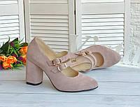 Лиловые женские туфли на высоком каблуке
