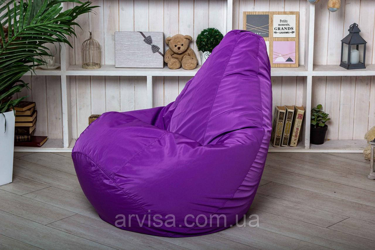 Бескаркасное Кресло мешок груша пуфик фиолетовое  XL (120х75)