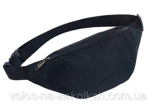 Мини бананка поясная сумка через плечо черная, фото 2